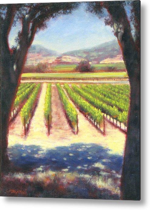 Wine Country Metal Print featuring the painting Napa Wine Vineyard Summer by Takayuki Harada