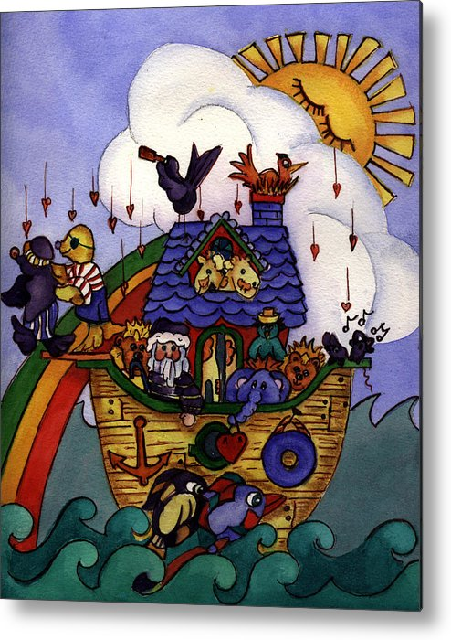 Whimisical Metal Print featuring the painting Noah's Ark by Patricia Halstead