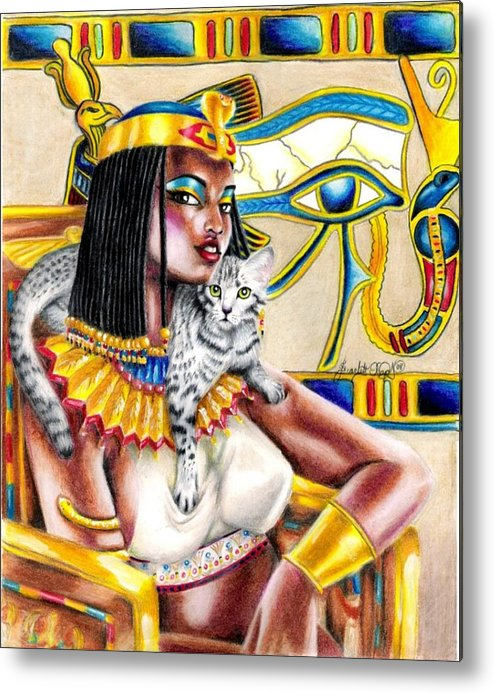 Egyptian Mau Metal Print featuring the drawing Nubian Queen by Scarlett Royal