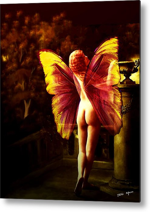 Nude Metal Print featuring the painting Nude Roman Fairy by Tray Mead