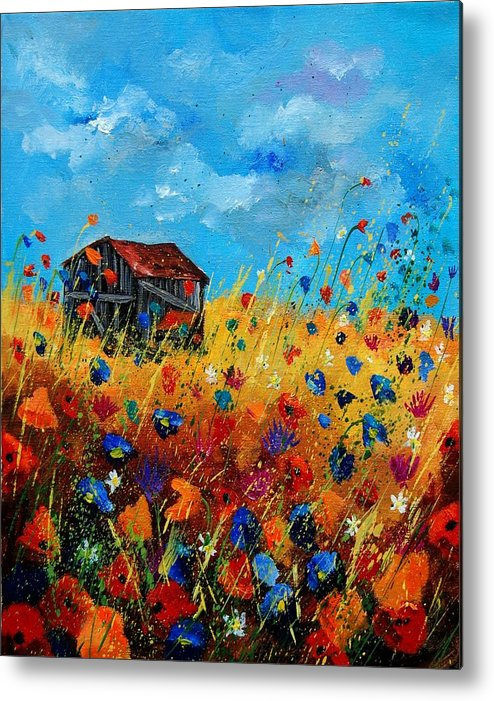 Poppies Metal Print featuring the painting Old Barn by Pol Ledent
