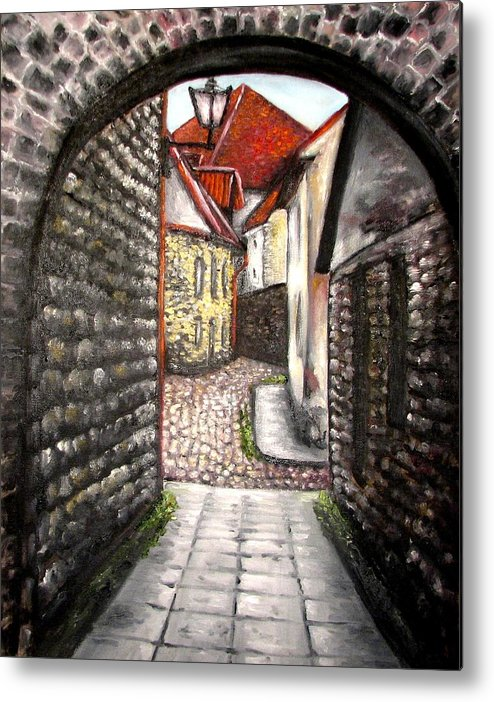 Town Metal Print featuring the painting Old Town Oil Paining by Natalja Picugina
