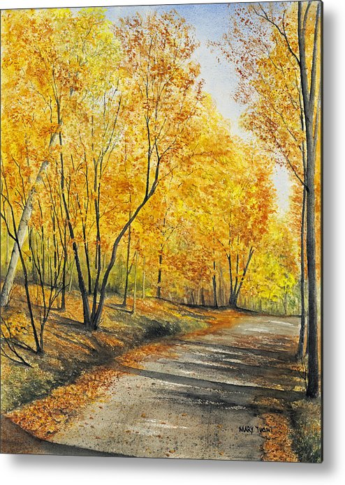 Autumn Metal Print featuring the painting On Golden Road by Mary Tuomi