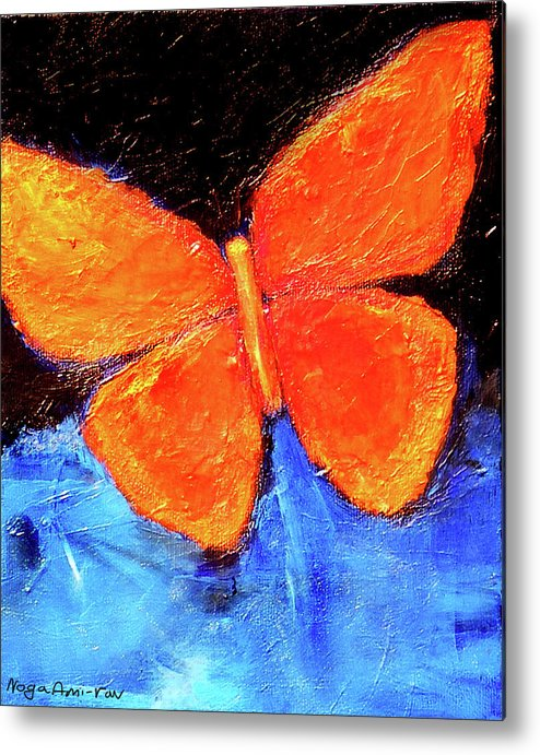 Butterfly Metal Print featuring the painting Orange Butterfly by Noga Ami-rav