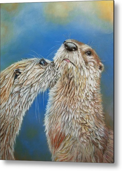 Wildlife Metal Print featuring the painting Otter Love by Ceci Watson