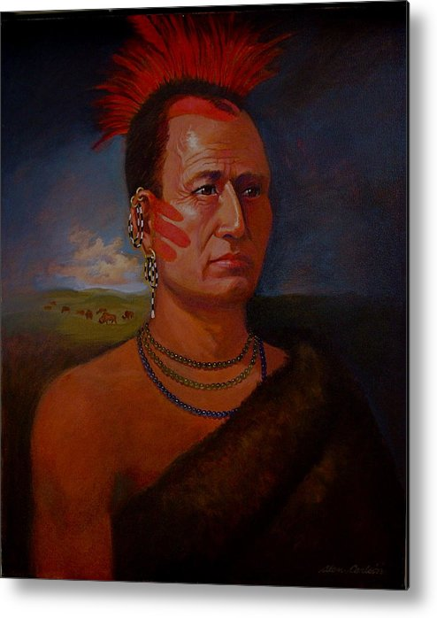 American Indian Plains In Headdress Metal Print featuring the painting Pawnee Chief Around 1820 by Alan Carlson