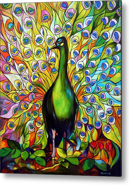 Bird Metal Print featuring the painting Peacock by Jose Manuel Abraham