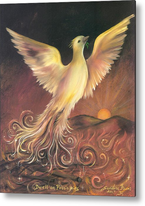 Phoenix Metal Print featuring the painting Phoenix Rising by Sundara Fawn
