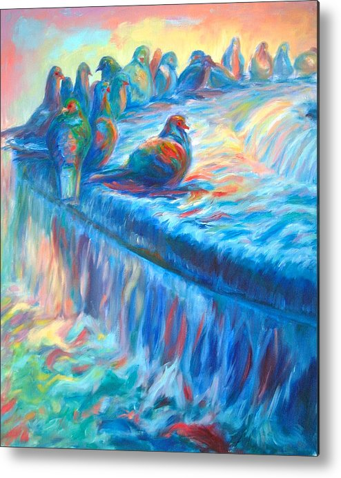 Colorful Landscape Metal Print featuring the painting Pigeon Symphony by Yen
