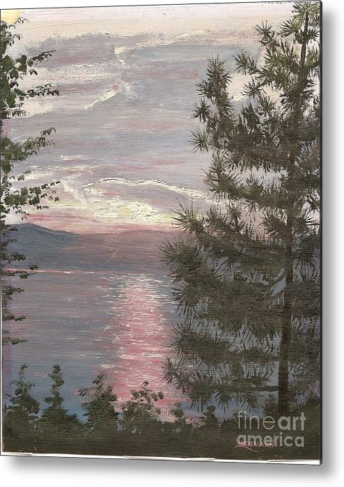 Lake Metal Print featuring the painting Piney Lake by Don Lindemann