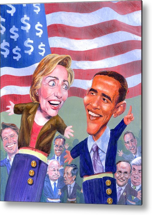 Hillary Clinton Metal Print featuring the painting Political Puppets by Ken Meyer