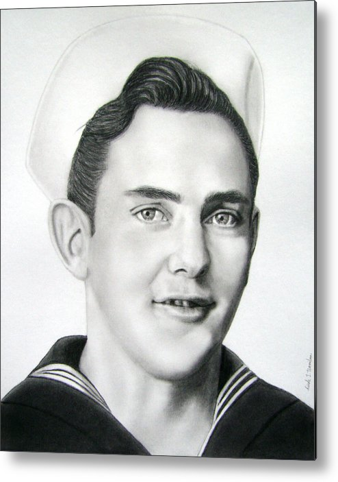 Portrait Metal Print featuring the drawing Portrait Of A Sailor by Nicole I Hamilton