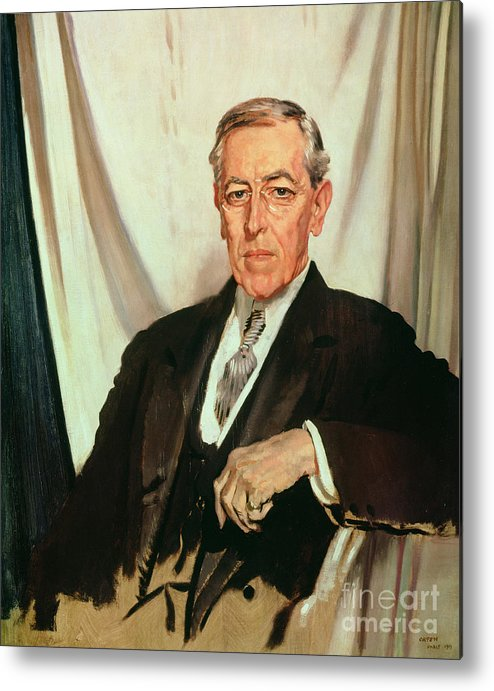 Portrait Of Woodrow Wilson (1856-1924) C.1919 (oil On Canvas) By Sir William Orpen (1878-1931) Metal Print featuring the painting Portrait Of Woodrow Wilson by Sir William Orpen