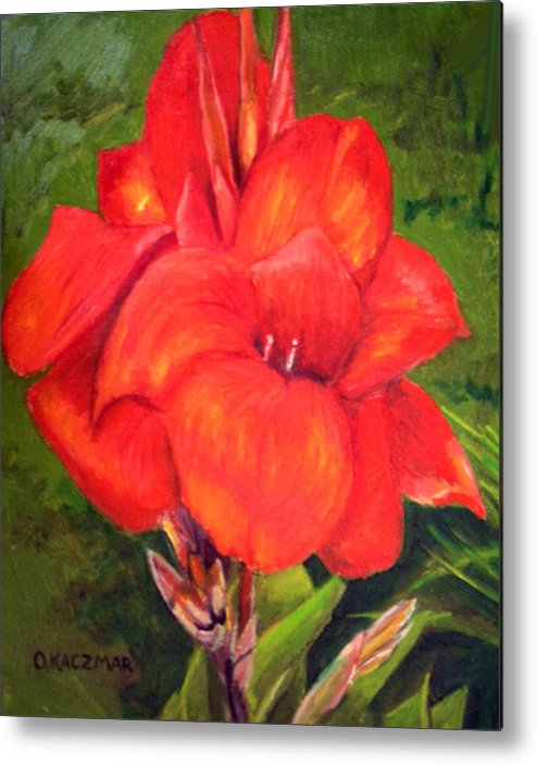 Flowers Metal Print featuring the painting Presidential Canna by Olga Kaczmar