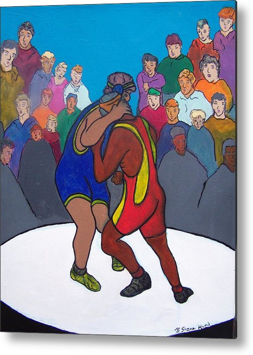 Figurative Metal Print featuring the painting Public Display Of Agression by Shane Hurd