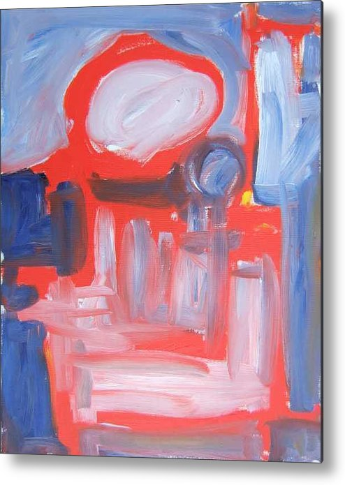 Abstract Metal Print featuring the painting Red Composition by Michael Henderson