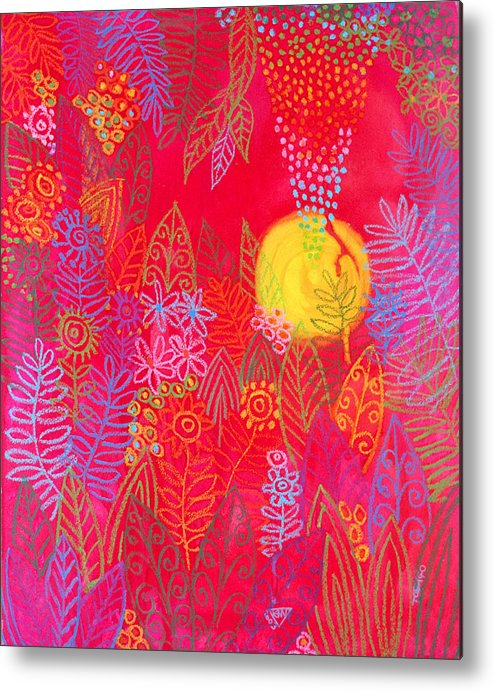Red Jungle Sun Passion Tropical Exotic Carribean Metal Print featuring the painting Red Jungle Passionate Sun by Jennifer Baird