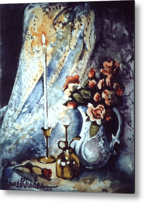 Miniature Metal Print featuring the painting Roses In Candllelight by Anne Rhodes