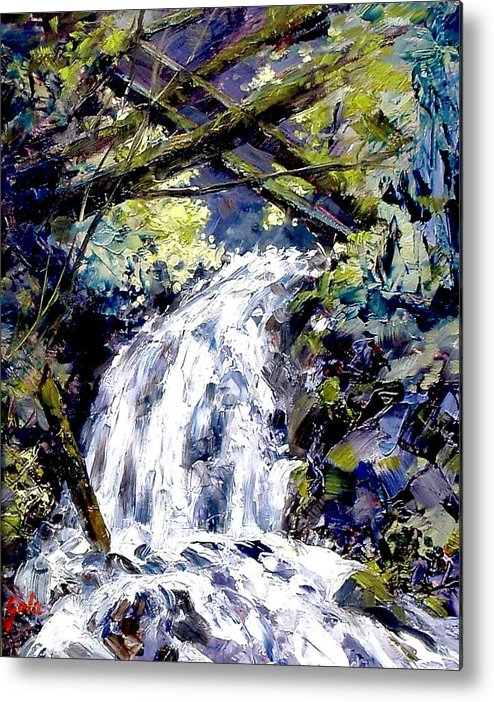 Landscape Metal Print featuring the painting Shepherds Dell Falls Coumbia Gorge Or by Jim Gola