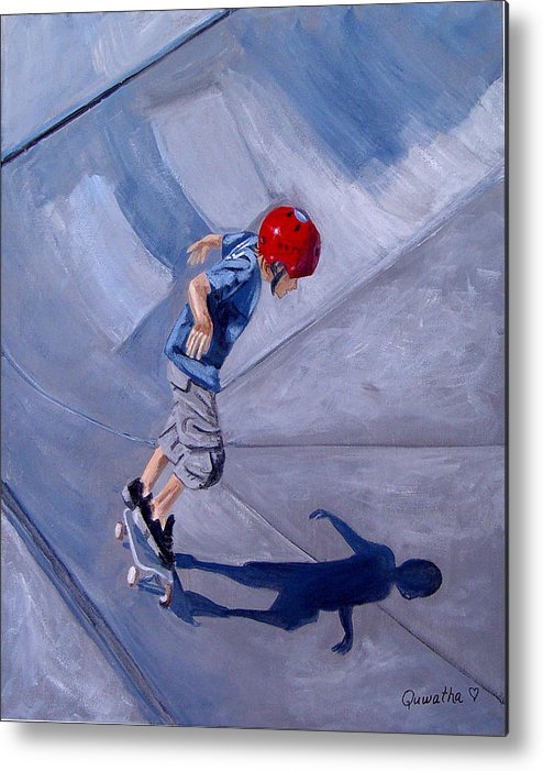 Boy Metal Print featuring the painting Skateboarding by Quwatha Valentine