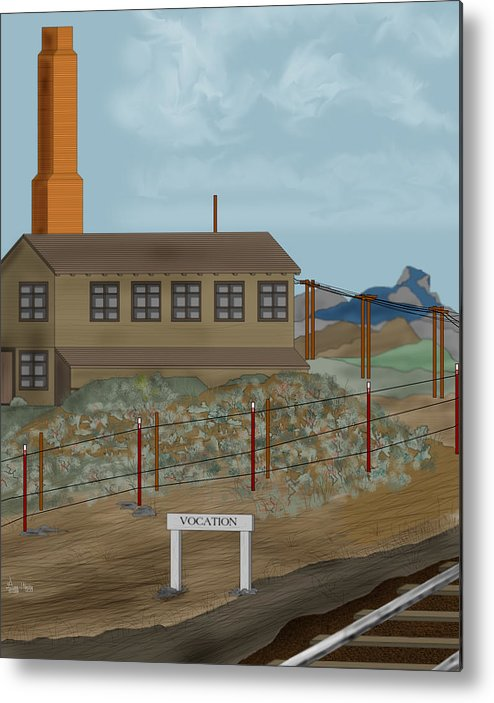 Camp Vocation Metal Print featuring the painting Smokestack And Heart Mountain At Camp Vocation by Anne Norskog