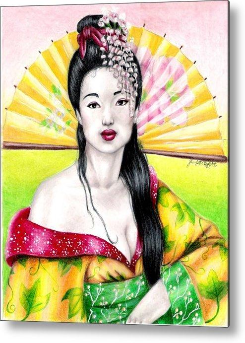 Geisha Metal Print featuring the drawing Spring Geisha by Scarlett Royal