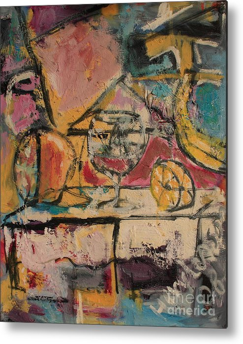Stil Life Metal Print featuring the painting Still Life With Glass by Michael Henderson