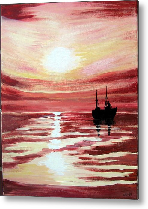 Seascape Metal Print featuring the painting Still Waters Run Deep by Marco Morales