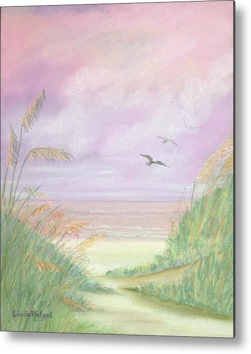 Linda Wetzel Metal Print featuring the pastel Sunrise Over Destin Beach by Linda Wetzel