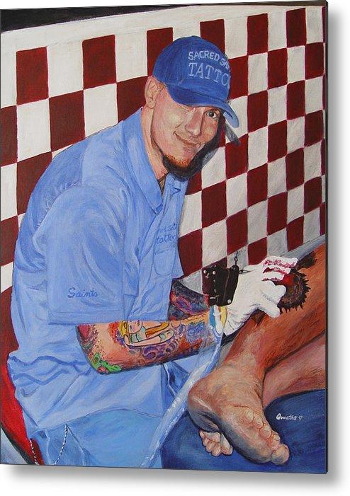 Tattoo Metal Print featuring the painting Tattoo Artist - Brandon Notch by Quwatha Valentine
