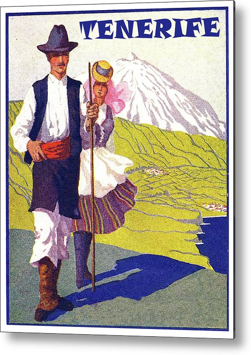 Tenerife Metal Print featuring the painting Tenerife, Canary Islands, Couple In Traditional Costumes by Long Shot