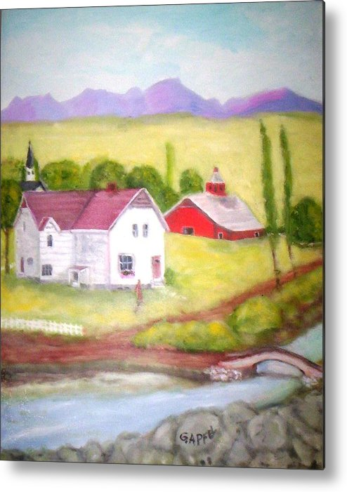 House Metal Print featuring the painting The Barn by Gloria M Apfel