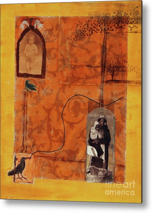 Black Father Metal Print featuring the mixed media The Eviction by Roberta Rose