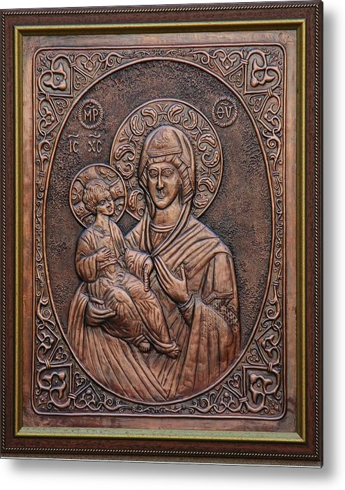 Icons Metal Print featuring the relief The Holly Mother With Jesus Christ by Netka Dimoska