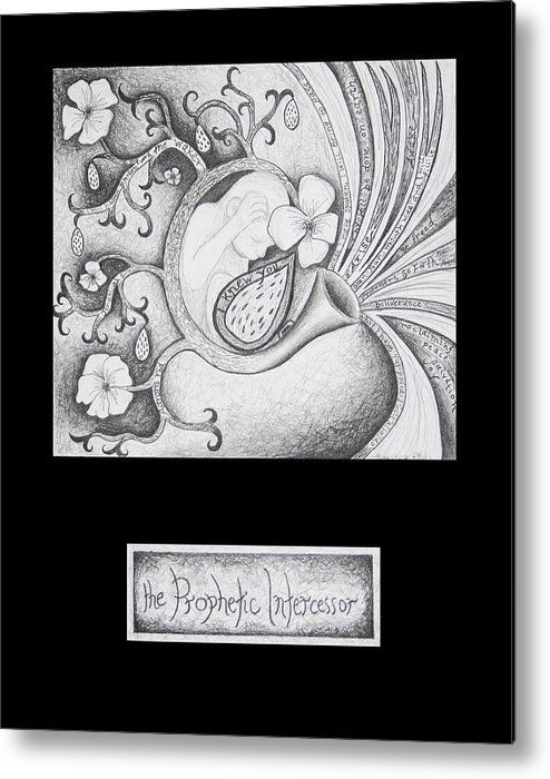 Christian Art Metal Print featuring the drawing The Prophetic Intercessor by Amy Parker Evans