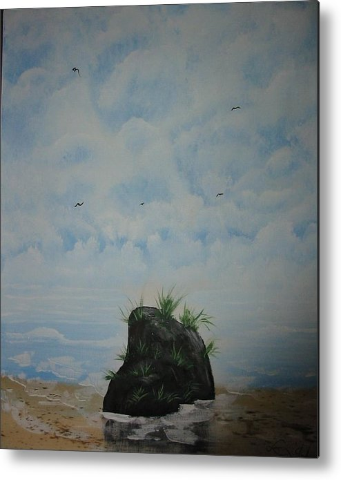 Acrylics Metal Print featuring the painting The Rock by Laurie Kidd