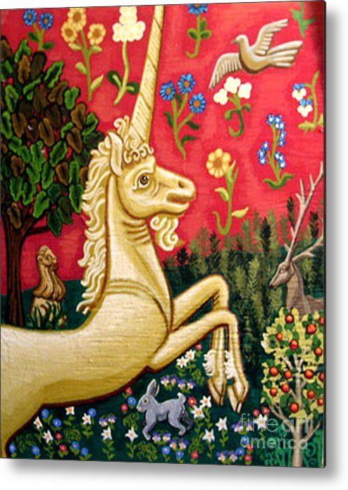 Unicorn Metal Print featuring the painting The Unicorn by Genevieve Esson
