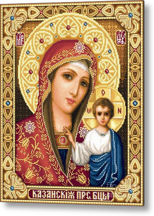 Theotokos Of Kazan Orthodox Icon Needlework Cross Stitch Gobelin Metal Print featuring the tapestry - textile Theotokos Of Kazan by Stoyanka Ivanova