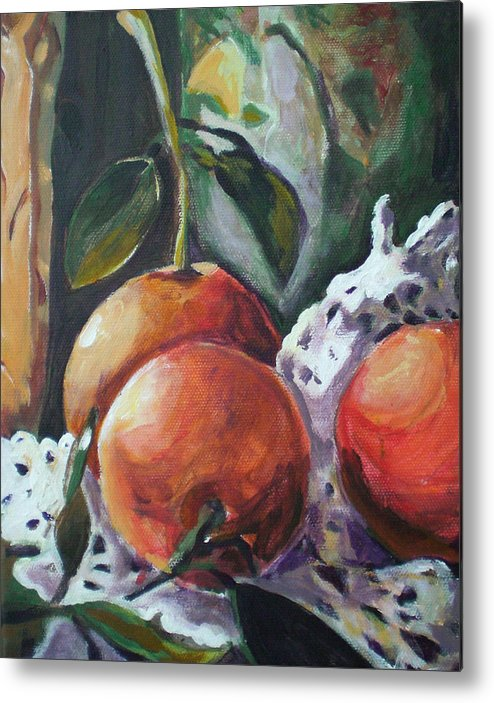 Still Life Metal Print featuring the painting Three Oranges by Aleksandra Buha