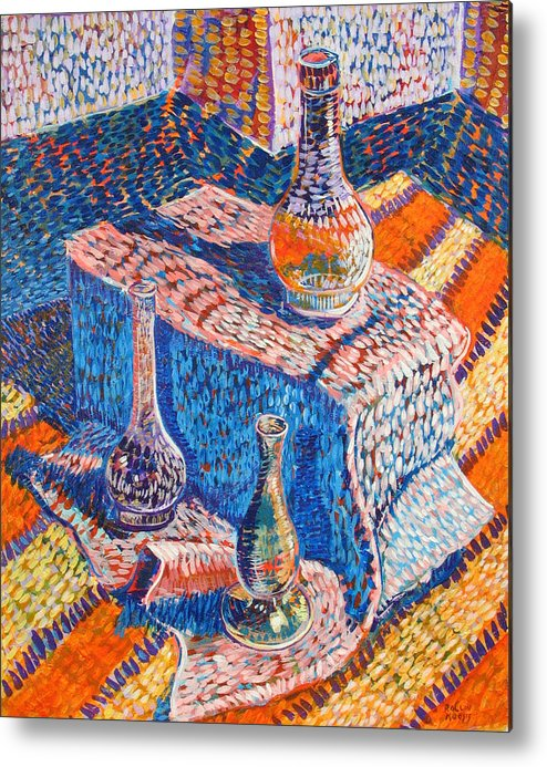 Still Life Metal Print featuring the painting Three Simple Vases by Rollin Kocsis