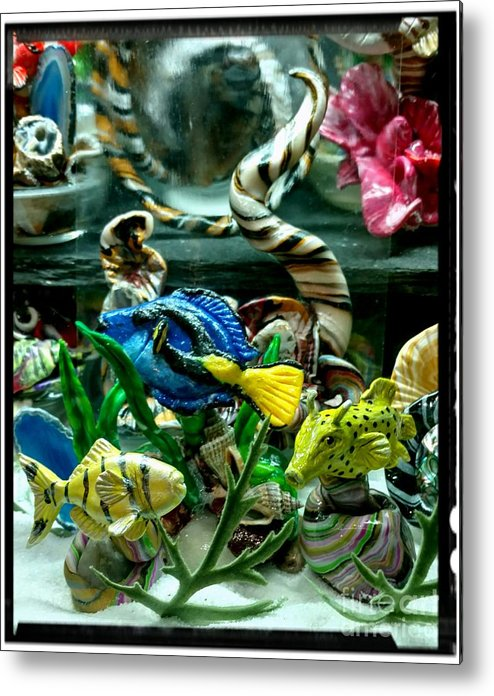 No Maintenance Aquariumn Blue Green Red Yellow Gold Silver Abstract Created Flower Color Colorful Fish Art Gold White Black Ocean Scene Angel Polymer Clay Abstract Created Flower Coral Imagery Animated Aquatic Metal Print featuring the mixed media Triple Fish Close Up by Kirk Wieland