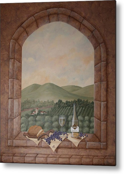 Wine Metal Print featuring the painting Tuscan Window Ledge by Sandra Poirier