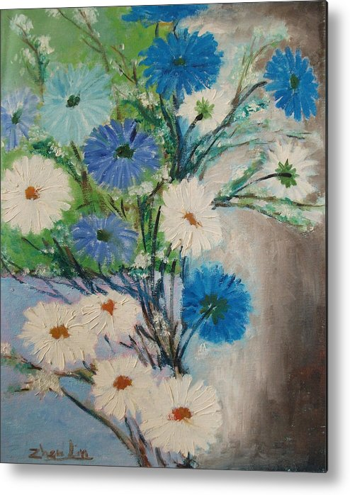 Flowers Metal Print featuring the painting Twiggys by Lian Zhen