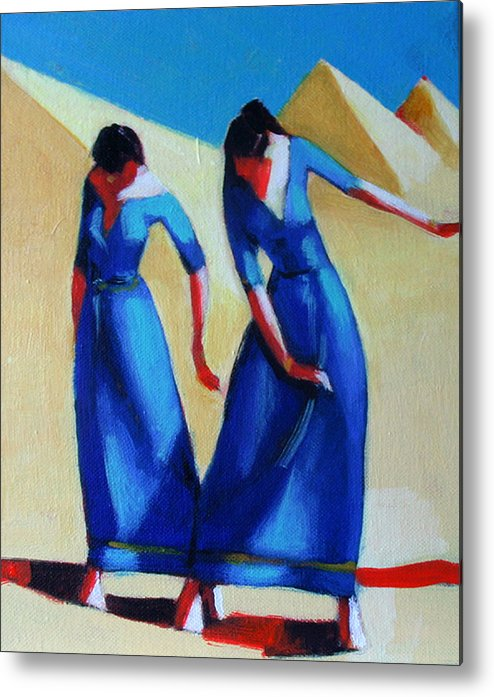 Figure Metal Print featuring the painting Two Dancers With Three Pyramids by Ihab Bishai