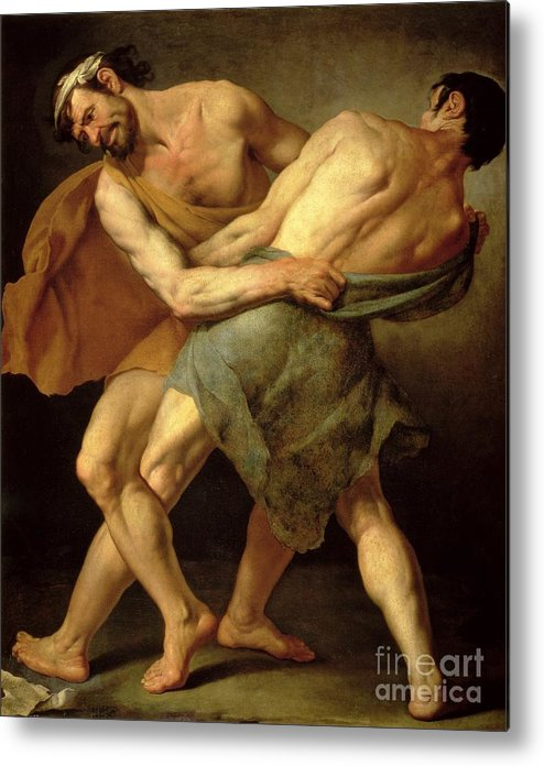 Nude Metal Print featuring the painting Two Wrestlers by Cesare Francazano