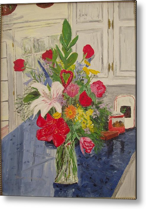 Flowers Metal Print featuring the painting Valentine Bouquet by Sharon De Vore