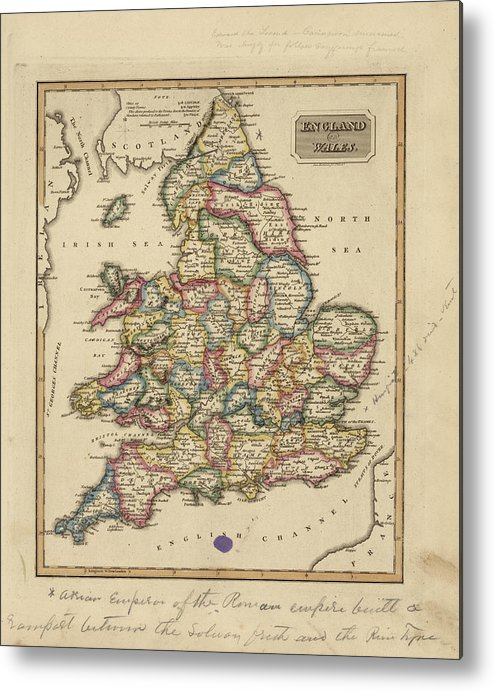 Map Of England Vintage.Antique Map Of England And Wales Metal Print By Fielding Lucas