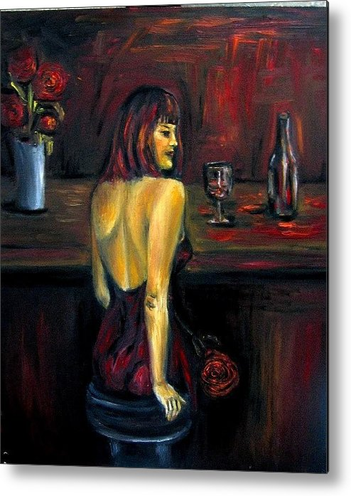 Woman Metal Print featuring the painting Waiting... Oil Painting  by Natalja Picugina