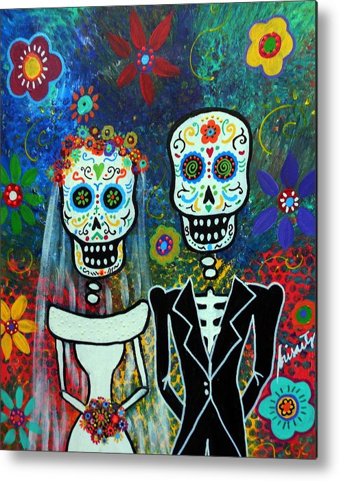 Weddng Metal Print featuring the painting Wedding Muertos by Pristine Cartera Turkus