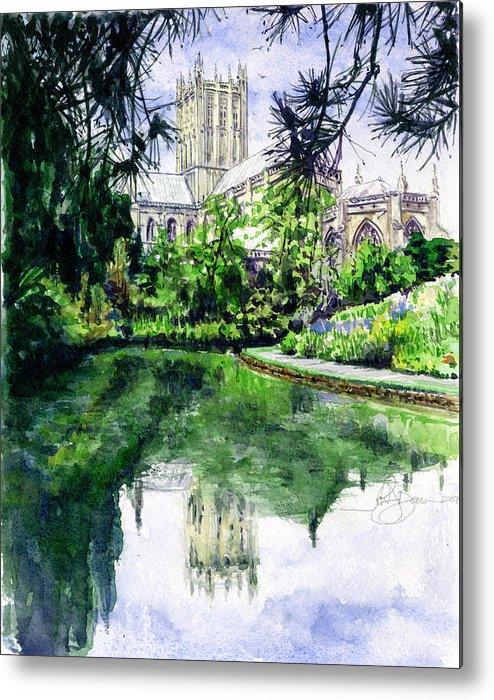 Wells Metal Print featuring the painting Wells Cathedral by John D Benson
